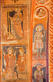 STITNIK - DECEMBER 29, 2013: Medieval frescos in gothic evangelical church in Stitnik from 14 - 15 cent. — Stock Photo
