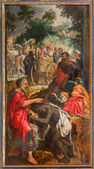 ANTWERP, BELGIUM - SEPTEMBER 5, 2013: Paint of scene - Baptism of the Ethiopian Eunuch by Philip by unknown painter in the cathedral of Our Lady. — Stock Photo