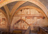 STITNIK, SLOVAKIA - DECEMBER 29, 2013: Medieval frescos on the chorus in gothic evangelical church in Stitnik from 14 - 15 cent. — Stock Photo