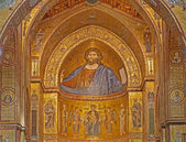 PALERMO - APRIL 9: Mosaics of main apse of Monreale cathedral. Church is wonderful example of Norman architecture. Cathedral was completed about 1200 on April 9, 2013 in Palermo, Italy. — Stock Photo