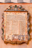 STITNIK - DECEMBER 29: Renaissance-baroque epitaph from presbytery of gothic evangelical church in Stitnik on December 29, 2013 in Stitnik, Slovakia. — Stock Photo