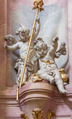 JASOV - JANUARY 2: Baroque sculpture of angels in nave of Premonstratesian cloister by Johann Anton Krauss (1728 - 1795) in Jasov on January 2, 2014 in Jasov, Slovakia. — Stock Photo