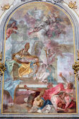 JASOV - JANUARY 2: Baroque side altar and panit of st. Augustine by Johann Lucas Kracker (1752 - 1776) from Premonstratesian cloister in Jasov on January 2, 2014 in Jasov, Slovakia. — Stock Photo