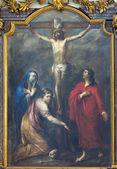LEUVEN, BELGIUM - SEPTEMBER 3: Paint of Crucifixion in Sint Jan de Doperkerk on September 3, 2013 in Leuven, Belgium. — Stock Photo