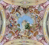 JASOV - JANUARY 2: Fresco of St. John the Baptist by Johann Lucas Kracker from year (1752 - 1776) on baroque ceiling from Premonstratesian cloister in Jasov on January 2, 2014 in Jasov, Slovakia. — Stock Photo