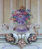 JASOV - JANUARY 2: Fresco of baroque bouquet by J, L, Kracker (1752 - 1776) on baroque ceiling from cloister in Jasov on January 2, 2014 in Jasov, Slovakia. — Stock Photo