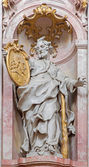 JASOV - JANUARY 2: Baroque sculpture of Saint Jude Thadeus the apostle in nave of Premonstratesian cloister by Johann Anton Krauss (1728 - 1795) in Jasov on January 2, 2014 in Jasov, Slovakia. — Stock Photo