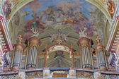 JASOV - JANUARY 2: Baroque organ and fresco by Johann Lucas Kracker (1752 - 1776) on baroque ceiling from Premonstratesian cloister in Jasov on January 2, 2014 in Jasov, Slovakia. — Stock Photo