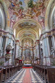 JASOV - JANUARY 2: Main nave of baroque church (1745 - 1766) in Premonstratesian cloister in Jasov by glorious architect from Vienna Franz Anton Pilgram on January 2, 2014 in Jasov, Slovakia. — Stock Photo