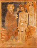 STITNIK - DECEMBER 29: Medieval fresco of Baptism of Christ in gothic evangelical church in Stitnik from 14 - 15 cent. on December 29, 2013 in Stitnik, Slovakia. — Stock Photo