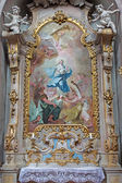 JASOV - JANUARY 2: Baroque side altar and paint of Immaculate conception by Johann Lucas Kracker (1752 - 1776) from Premonstratesian cloister in Jasov on January 2, 2014 in Jasov, Slovakia. — Stock Photo