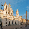 Stock Photo: Rome - PiazzNavonin morning and Fontandei Fiumi by Bernini and Egypts obelisk and SantAgnese in Agone church