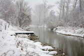 River Little Danube in snow fall - west Slovakia — Stock Photo