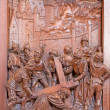 Stock Photo: ANTWERP, BELGIUM 5: Fall of Jesus under cross. Carved relief in St. Pauls church (Paulskerk) on September 5, 2013 in Antwerp, Belgium