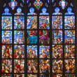 ANTWERP, BELGIUM - SEPTEMBER 5: Windowpane of Coronation of hl. Mary from cathedral of Our Lady on September 5, 2013 in Antwerp, Belgium — Stock Photo #38977867