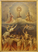 MADRID - MARCH 10: Eucharist and the souls in purgatory. Paint in Iglesia catedral de las fuerzas armada de Espana on March 10, 2013 in Madrid.in March 10, 2013 in Spain. — Stock Photo