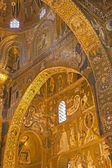 PALERMO - APRIL 8: Mosaic of Cappella Palatina - Palatine Chapel in Norman palace in style of Byzantine architecture from years 1132 - 1170 on April 8, 2013 in Palermo, Italy. — Stock Photo