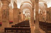 VERONA - JANUARY 28: Interior of romanesque lower church San Fermo Maggiore on January 28, 2013 in Verona, Italy. — Stock Photo