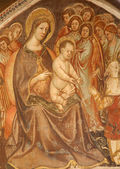 VERONA - JANUARY 27: Fresco of virgin Mary with the child from church Santa Anastasia on January 27, 2013 in Verona, Italy — Stock Photo