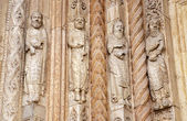 VERONA - JANUARY 27: Detail of prophets statues from main portal of Duomo on January 27, 2013 in Verona, Italy — Stock Photo