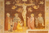 Verona - 27 de janeiro: afresco da crucificação da nave por altichiero, um pintor da escola de giotto do final do 14. cent. na basílica san zeno em 27 de janeiro de 2013, em verona, itália. — Fotografia Stock