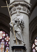 BRUSSELS - JUNE 22: Statue of st. Andrew the apostle from gothic cathedral of Saint Michael on June 22, 2012 in Brussels. — Stock Photo