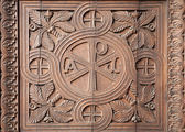 Milan - detail from church gate - carving of Virgin Mary monogram - Sant Agostino church — Foto Stock