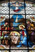 Christmas crib - windowpane from Banska Stiavnica - st. Katharine church — Stockfoto