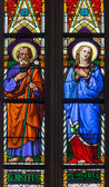 BRATISLAVA, SLOVAKIA - JANUARY 14, 2014: Virgin Mary and st. Joseph on windowpane from 19. from manufactures of Karol Geyling and Eduard Kratzmann in st. Martin cathedral. — Stock Photo