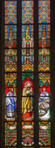 BRATISLAVA, SLOVAKIA - JANUARY 14, 2014: Saint cardinal Charles Borromeo on windowpane from 19. from manufactures of Karol Geyling and Eduard Kratzmann in st. Martin cathedral. — Stock Photo