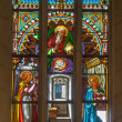 BRATISLAVA, SLOVAKI- JANUARY 14, 2014: Annunciation scene on windowpane from 19. from manufactures of Karol Geyling and Eduard Kratzmann in st. Martin cathedral. — Stock Photo #39730021
