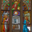 BRATISLAVA, SLOVAKI- JANUARY 14, 2014: Annunciation scene on windowpane from 19. from manufactures of KarolGeyling and EduardKratzmann in st. Martin cathedral. — Stock Photo #39732161