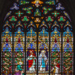 MECHELEN, BELGIUM - SEPTEMBER 6: Jesus ans his mother. Windowpane of St. Rumbold's cathedral on September 6, 2013 in Mechelen, Belgium. — Stock Photo #39734533