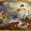 VIENNA - JULY 3: Fresco of Resurrected Jesus in heaven from ceiling of Schottenkirche church on July 3, 2013 in Vienna. — Stock Photo