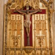 MADRID - MARCH 10: Jesus on the cross. Side altar from San Jeronimo el Real build in Isabelline gothic style from 16. cent. in March 10, 2013 in Spain. — Stock Photo