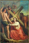 LEUVEN, BELGIUM - SEPTEMBER 3, 2013: Jesus under cross. Paint form St. Michael church (Michelskerk) from year 1855 by Xavier Everaert. — Stock Photo