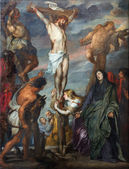 MECHELEN, BELGIUM - SEPTEMBER 6m 2013: Paint of Crucifixion scene in St. Rumbold's cathedral by glorious baroque painter Anton van Dyck. — Stock Photo