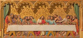 BRATISLAVA, SLOVAKIA - JANUARY 14, 2014: Last supper of Christ scene. Carved relief from 19. cent. by Ferdinand Prinoth from St. Ulrich. on gothic side altar in st. Martin cathedral. — Stock Photo