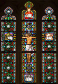 BRATISLAVA, SLOVAKIA - JANUARY 14, 2014: Crucifixion on windowpane from 19. from manufactures of Karola Geyling and Eduarda Kratzmann in st. Martin cathedral. — Stock Photo