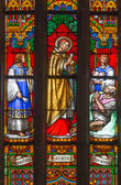 BRATISLAVA, SLOVAKIA - JANUARY 14, 2014: Saint cardinal Charles Borromeo on windowpane from 19. from manufactures of Karola Geyling and Eduarda Kratzmann in st. Martin cathedral. — Stock Photo