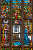 BRATISLAVA, SLOVAKIA - JANUARY 14, 2014: Annunciation scene on windowpane from 19. from manufactures of Karola Geyling and Eduarda Kratzmann in st. Martin cathedral. — Stock Photo