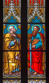 BRATISLAVA, SLOVAKIA - JANUARY 14, 2014: Apostle Peter and Paul on windowpane from 19. from manufactures of Karola Geyling and Eduarda Kratzmann in st. Martin cathedral. — Stock Photo