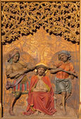 BRATISLAVA, SLOVAKIA - JANUARY 14, 2014: Torture of Jesus with the crown of thorns. Carved relief from 19. cent. by Ferdinand Prinoth from St. Ulrich on gothic side altar in st. Martin cathedral. — Stock Photo