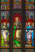 BRATISLAVA, SLOVAKIA - JANUARY 14, 2014: Saint Cecilia on windowpane from 19. from manufactures of Karola Geyling and Eduarda Kratzmann in st. Martin cathedral. — Stock Photo