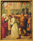 MECHELEN - SEPTEMBER 4: Jesus under cross and Veronica. Cross way cycle from 19. cent. in Onze-Lieve-Vrouw-va n-Hanswijkbasiliek church on September 4, 2013 in Mechelen, Belgium. — Stockfoto