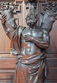 ANTWERP, BELGIUM - SEPTEMBER 5: Carved statue of st. Andrew the apostle in St. Pauls church (Paulskerk) on September 5, 2013 in Antwerp, Belgium. — Stock Photo