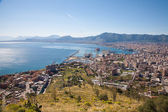 Palermo - outlook over city, coast and harbor form Mount Pelegrino — Stock Photo