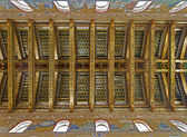 PALERMO - APRIL 9: Ceiling of main nave in Monreale cathedral. Church is wonderful example of Norman architecture. Cathedral was completed about 1200 on April 9, 2013 in Palermo, Italy. — Stock Photo