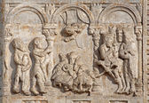 VERONA - JANUARY 27: Relief of Adoration of Magi and pastors from facade of Basilica San Zeno. Reliefs is from sculptor Nicholaus and his workshop on January 27, 2013 in Verona, Italy. — Stock Photo