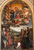 VERONA - JANUARY 27: Virgin Mary with the st. Anthione and st. Francis and other saints. Paint by Paolo Morando 1522 in San Bernardino church on January 2,. 2013 in Verona, Italy. — Stock Photo